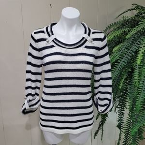 Spa By Chico's Pullover Striped Classic Sweater S